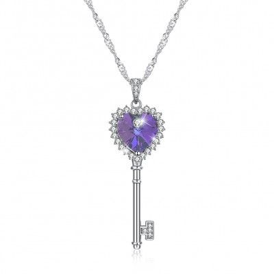 Tinnivi Key Design Purple Austrian Crystal Sterling Silver Pendant Necklace