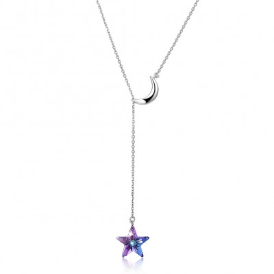 Tinnivi Star Purple Austrian Crystal With Moon Sterling Silver Pendant Necklace