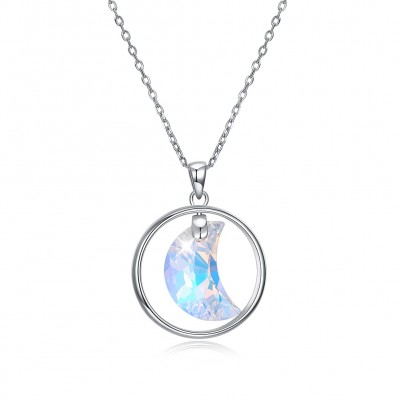 Tinnivi Elegant Moon Design Austrian Crystal Sterling Silver Pendant Necklace