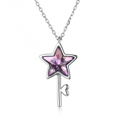 Tinnivi Star Key Design Pink Austrian Crystal Sterling Silver Pendant Necklace