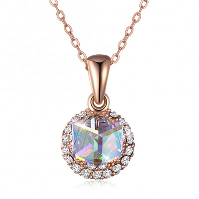 Tinnivi Rose Gold Plated Sterling Silver Cube Austrian Crystal Pendant Necklace