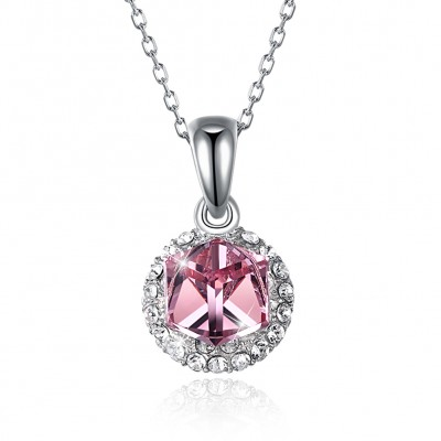 Tinnivi Sterling Silver Cube Pink Austrian Crystal Pendant Necklace