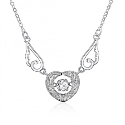 Tinnivi Heart With Wing Sterling Silver Created White Sapphire Pendant Necklace