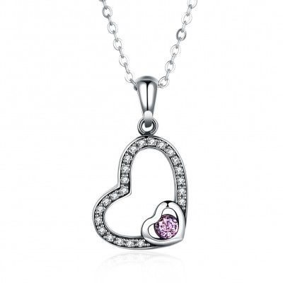 Tinnivi Double Heart Sterling Silver Created Pink Sapphire Pendant Necklace