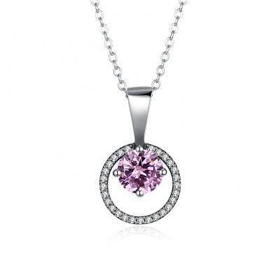 Tinnivi Circle Sterling Silver Created Pink Sapphire Pendant Necklace