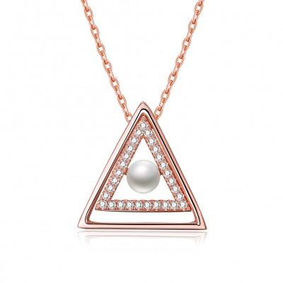 Tinnivi Rose Gold Plated Sterling Silver Pearl Pendant Necklace