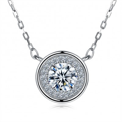 Tinnivi Halo Round Cut Created White Sapphire Sterling Silver Pendant Necklace