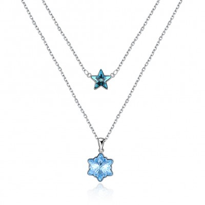 Tinnivi Stylish Blue Austrian Crystal Sterling Silver Pendant Necklace