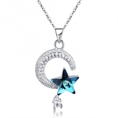 Tinnivi Star And Moon Blue Austrian Crystal Sterling Silver Pendant Necklace