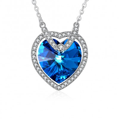 Tinnivi Elegant Halo Heart Cut Blue Austrian Crystal Sterling Silver Pendant Necklace