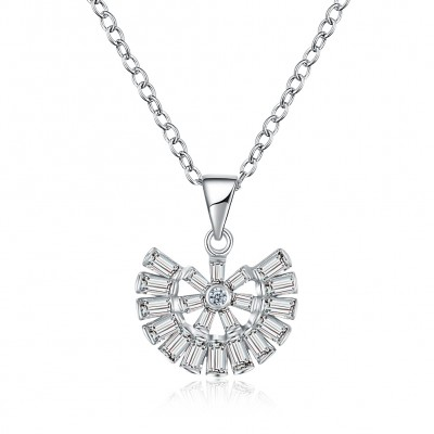 Tinnivi Special Created White Sapphire Sterling Silver Pendant Necklace
