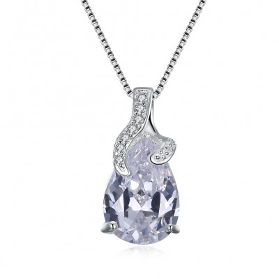 Tinnivi Gorgeous Pear Cut Created White Sapphire Sterling Silver Pendant Necklace