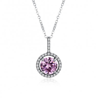 Tinnivi Sterling Silver Halo Round Cut Created Pink Sapphire Pendant Necklace