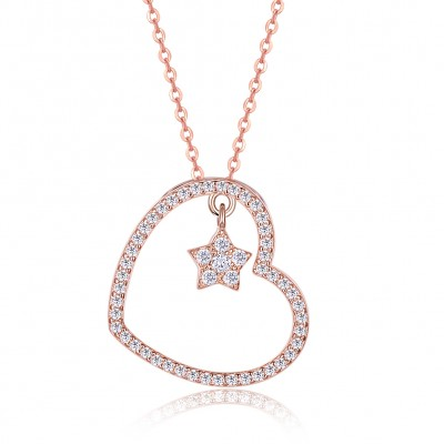 Tinnivi Rose Gold Plated Sterling Silver Heart And Star Pendant Necklace