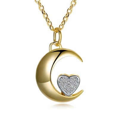 Tinnivi Gold Plated Moon Heart Sterling Silver Pendant Necklace