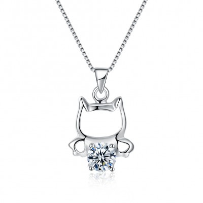 Tinnivi Cute Kitty Round Cut Created White Sapphire Sterling Silver Pendant Necklace