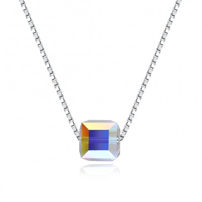 Tinnivi Cube Austrian Crystal Sterling Silver Pendant Necklace