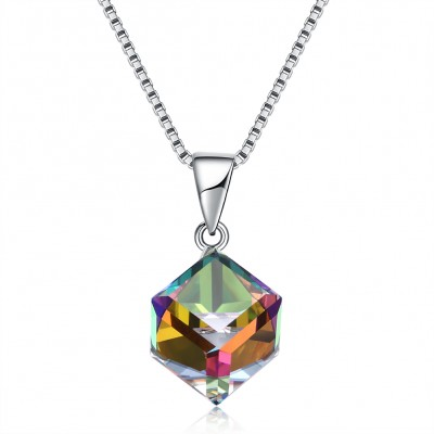Tinnivi Colorful Cube Austrian Crystal Sterling Silver Pendant Necklace