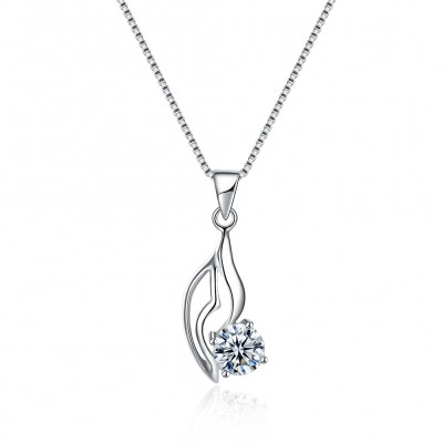 Tinnivi Leaf Round Cut Created White Sapphire Sterling Silver Pendant Necklace