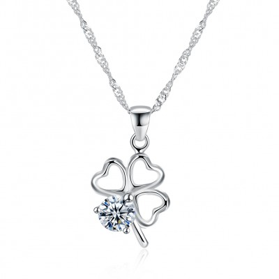 Tinnivi Four Leaf Clover Created White Sapphire Sterling Silver Pendant Necklace