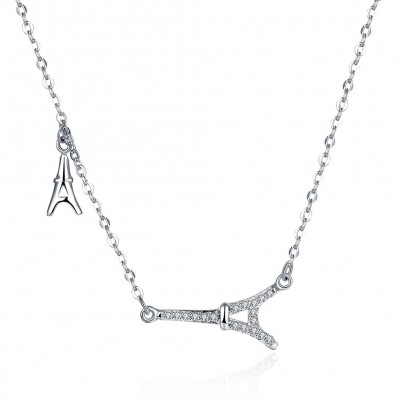 Tinnivi Stylish Eiffel Tower Sterling Silver Pendant Necklace