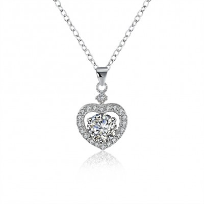 Tinnivi Classic Created White Sapphire Sterling Silver Pendant Necklace