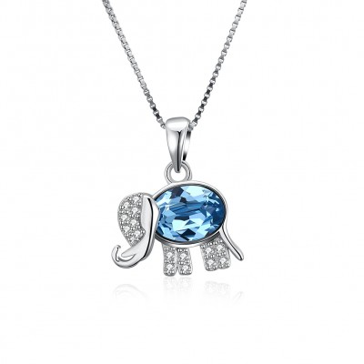 Tinnivi Elephant Design Blue Austrian Crystal Sterling Silver Pendant Necklace