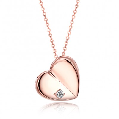 Tinnivi Rose Gold Plated Heart Sterling Silver Pendant Necklace