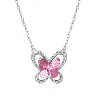 Tinnivi Butterfly Pink Austrian Crystal Sterling Silver Pendant Necklace