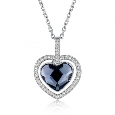 Tinnivi Halo Heart Austrian Crystal Sterling Silver Pendant Necklace