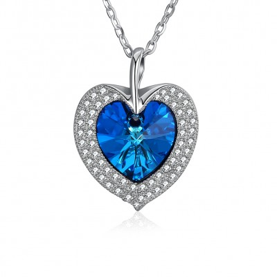 Tinnivi Heart Cut Austrian Crystal Sterling Silver Pendant Necklace