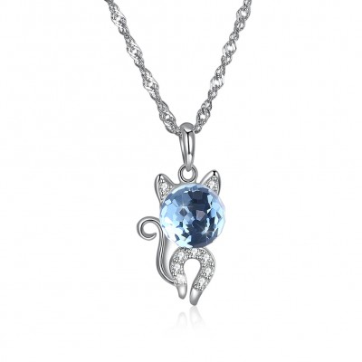 Tinnivi Cute Cat Design Blue Austrian Crystal Sterling Silver Pendant Necklace