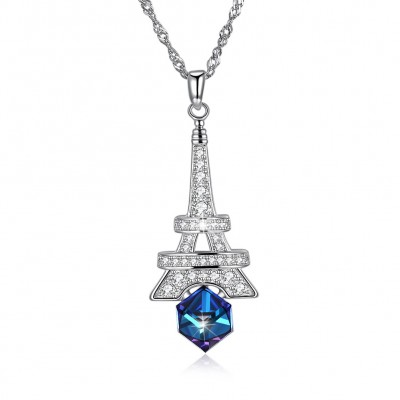 Tinnivi Eiffel Tower Cube Austrian Crystal Sterling Silver Pendant Necklace