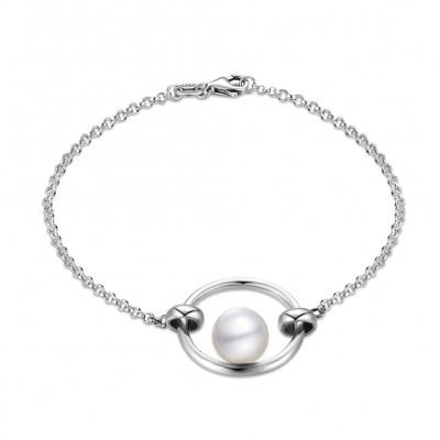 Tinnivi Circle With Pearl Sterling Silver Bracelet