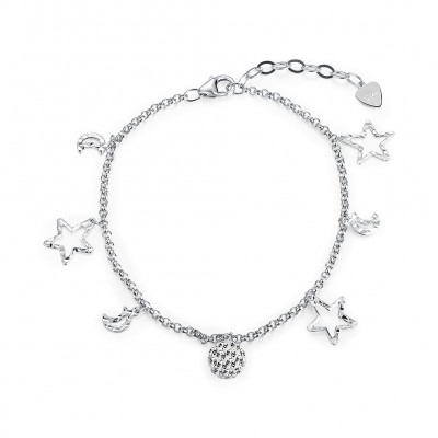 Tinnivi Fashion Star And Moon Pandent Sterling Silver Bracelet