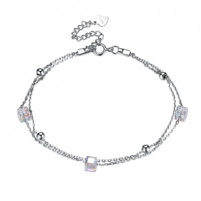 Tinnivi Sterling Silver Double Layer Cube Austrian Crystal Bracelet