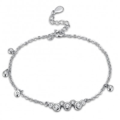 Tinnivi Stylish Created White Sapphire Sterling Silver Bracelet