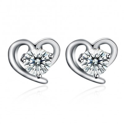 Tinnivi Heart Created White Sapphire Sterling Silver Stud Earrings