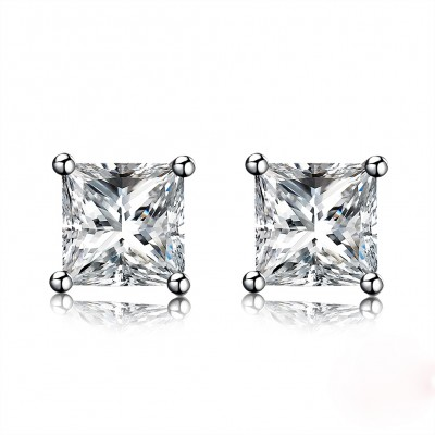 Tinnivi Simple Princess Cut Created White Sapphire Sterling Silver Stud Earrings