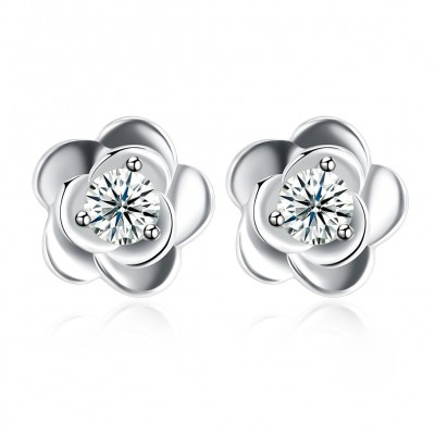 Tinnivi Rose Design Created White Sapphire Sterling Silver Stud Earrings