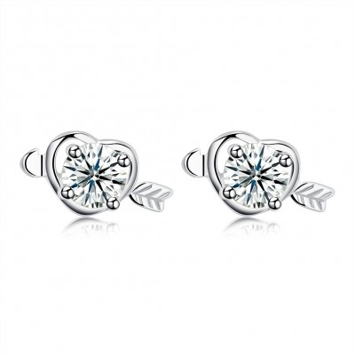 Tinnivi Arrow With Heart Created White Sapphire Sterling Silver Stud Earrings
