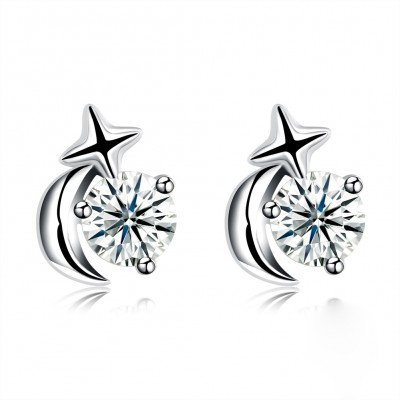 Tinnivi Moon And Star Created White Sapphire Sterling Silver Stud Earrings