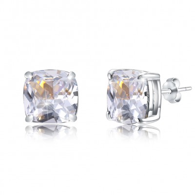 Tinnivi Cushion Cut Created White Sapphire Sterling Silver Stud Earrings