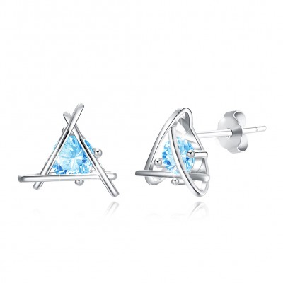 Tinnivi Triangle Created Aquamarine Sterling Silver Stud Earrings