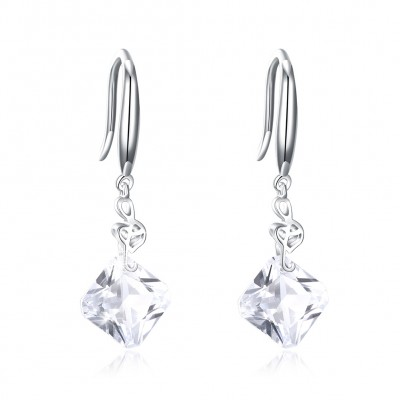Tinnivi Musical Note Created White Sapphire Sterling Silver Drop Earrings