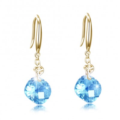 Tinnivi Musical Note Created Aquamarine Gold Plated Sterling Silver Drop Earrings