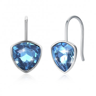 Tinnivi Elegant Blue Austrian Crystal Sterling Silver Drop Earrings