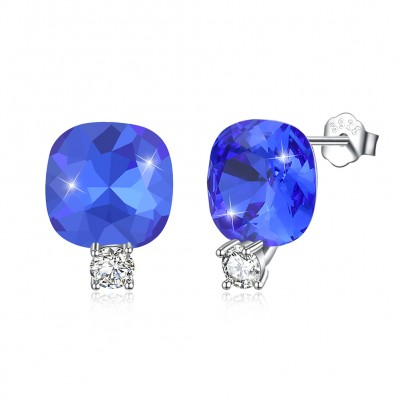 Tinnivi Cushion Cut Blue Black Austrian Crystal Sterling Silver Stud Earrings