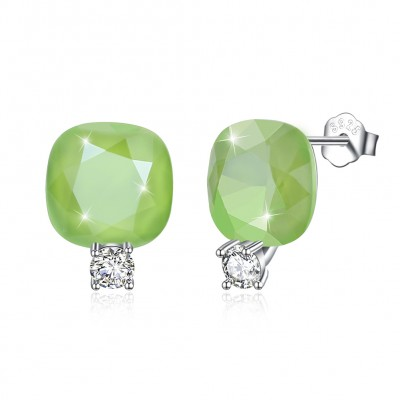 Tinnivi Cushion Cut Green Austrian Crystal Sterling Silver Stud Earrings