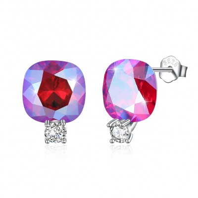 Tinnivi Cushion Cut Pink Austrian Crystal Sterling Silver Stud Earrings